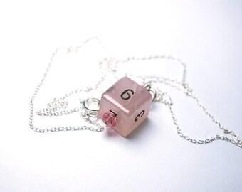 Genuine Rose Quartz Stone Dice Necklace