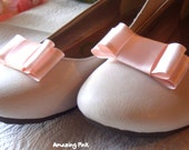 Satin Bow Shoe Clips / Bridal Party Wedding /Women Shoe Clips in Baby Pink