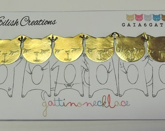 Cat Necklace - Brass Necklace with six cat faces