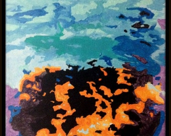 Original Abstract Painting Fire and Water on 8 x 10 Canvas