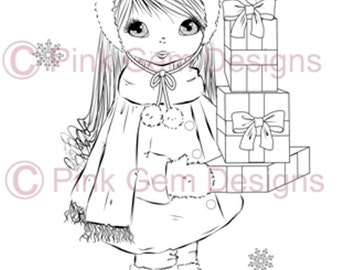 Digital Digi Stamp 'Angelica with Gifts'. Cute Girl. Christmas. Card Making. Paper Craft. Digital Scrapbooking. Invitations