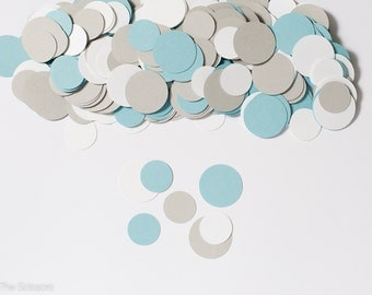 Circle Confetti - White, Light Blue and Gray - Baby Shower Decoration - Party Decoration