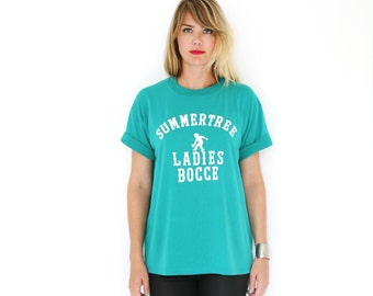 Vintage Graphic Tee Graphic Tshirt  T- Shirt Ladies Bocce Sea Green Large XL 50-50 Coton / Poly Soft Tee