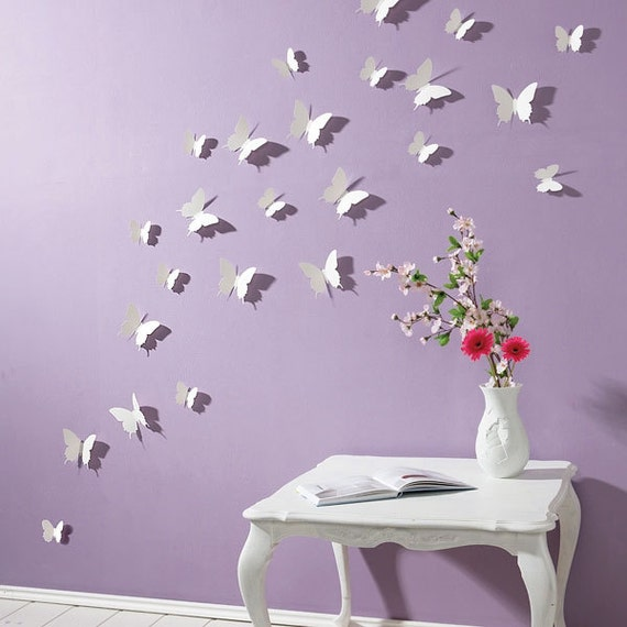 3d butterfly wall stickers white 15pc butterfly decorations. Black Bedroom Furniture Sets. Home Design Ideas