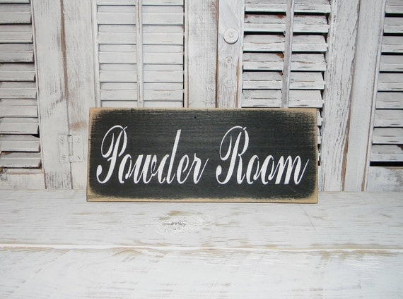 bathroom sign powder room wall decor country bath decor