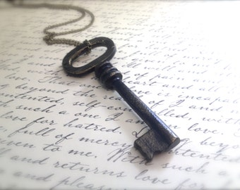 Large Antique Style Brass Key Necklace. Decorated Key. Key Jewelry. Skeleton Key. Ornate Key. Vintage Style. Brass Chain. Statement Jewelry.