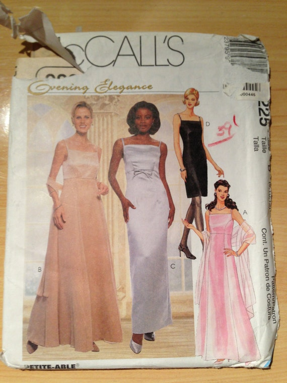 McCalls Sewing Pattern 9225 Misses Lined Evening Dress Size 8-12