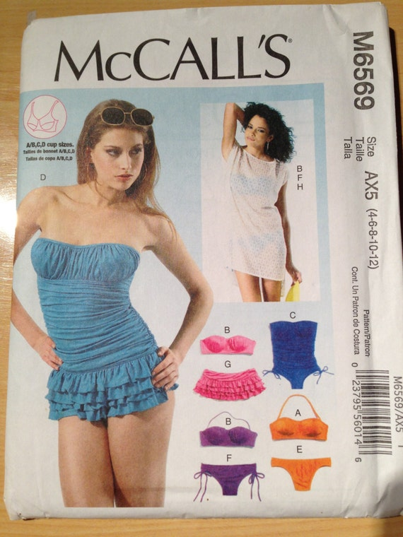 McCalls Pattern 6569 Uncut Misses Tops, Swimsuits, Bikinis, and Cover Up