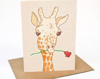 Gerard the Giraffe - with Rose - Greeting card