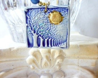 Necklace, Hanmade, Porcelain, Focal Bead, Blue, Gold, Crystals, Pearls