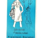 1970s Sewing Pattern Prominent Designer M176 Retro John Norman High Yoke A-line Casual Day Cocktail Party Dress Uncut Bust 40 Plus Size