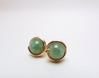 Wirewrapped Green Jade Earstuds / 14k Rose Gold-filled