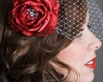 Handmade fantasy rose crimson red flower, red satin flower with rhinestone center, glamour photography prop,  red wedding hair accessory