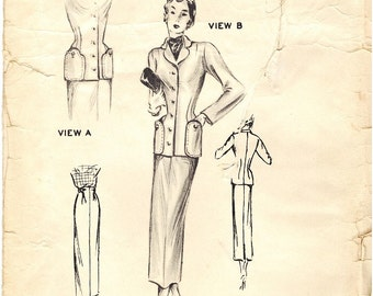 Originator 1234 Vintage 40s Womens Suit Sewing Pattern - A great Collectible Pattern - Size 40 Bust 40