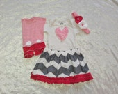 Baby Shower Gift, Baby Girl Valentine, Baby Girl Outfit, Red, Pink, White and Gray Chevron Outfit