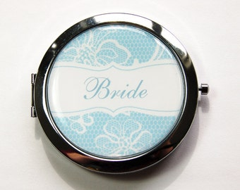 Bride compact mirror, Something Blue, Bride Mirror, mirror, something blue for wedding, Wedding, Personalized, custom, Bride (3166)