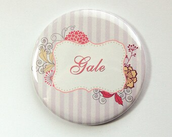 Personalized pocket mirror, purse mirror, pocket mirror, custom mirror, bridesmaid gift, bridal shower favor, stripes, flowers (3563)