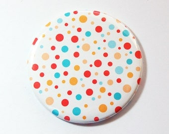 Dots pocket mirror, pocket mirror, mirror, purse mirror, gift for her, Polka Dots, Bright colors, Pink, Blue, Yellow (3607)
