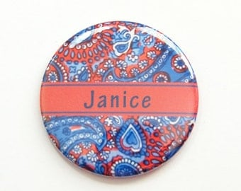 Personalized pocket mirror, paisley mirror, pocket mirror, mirror, custom pocket mirror, purse mirror, paisley design, red, blue (3901)