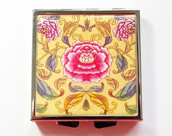 Pill container, Pill case, Floral case, Square Pill box, Square pill case, 4 Sections, Flower, Floral, Yellow, Asian Print (4172)