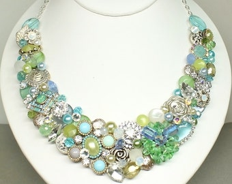 Statement Necklace- Bridal Bib Necklace- Blue & Green Bib Necklace- Chartruse Wedding Necklace- OOAK Necklace-Ready to ship-Elegant Necklace