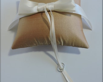 Gold- Silk and Satin Ring Pillow