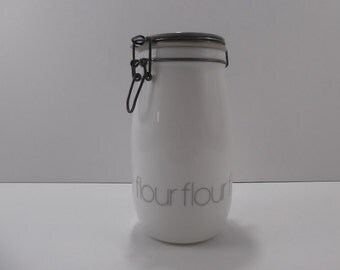Flour Power - Vintage Wheaton USA White Milk Glass 1.5L Kitchen Storage Canister Jar Bottle - Canning Type Seal - Grey Art Deco Label Font