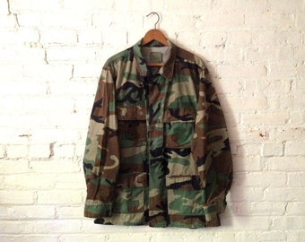 Vintage Camouflage Army Jacket - Military Green Olive Brown
