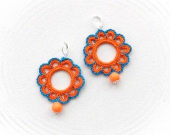 Crochet Earrings - Beaded Earrings - Circle Earrings - Orange Blue Flowers Earrings - Crochet Jewellery