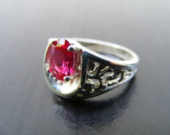 15% Off Sale.S193 Made to Order...New Sterling Silver Antique Style Filigree Ring with 1 Carat Lab Ruby Gemstone
