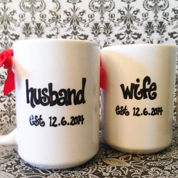 HUSBAND and WIFE Mug SET - Wedding or Anniversary Gift, Custom Name ...