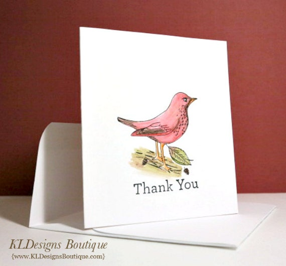 Stationery- Thank You Gorgeous Robin Water Color