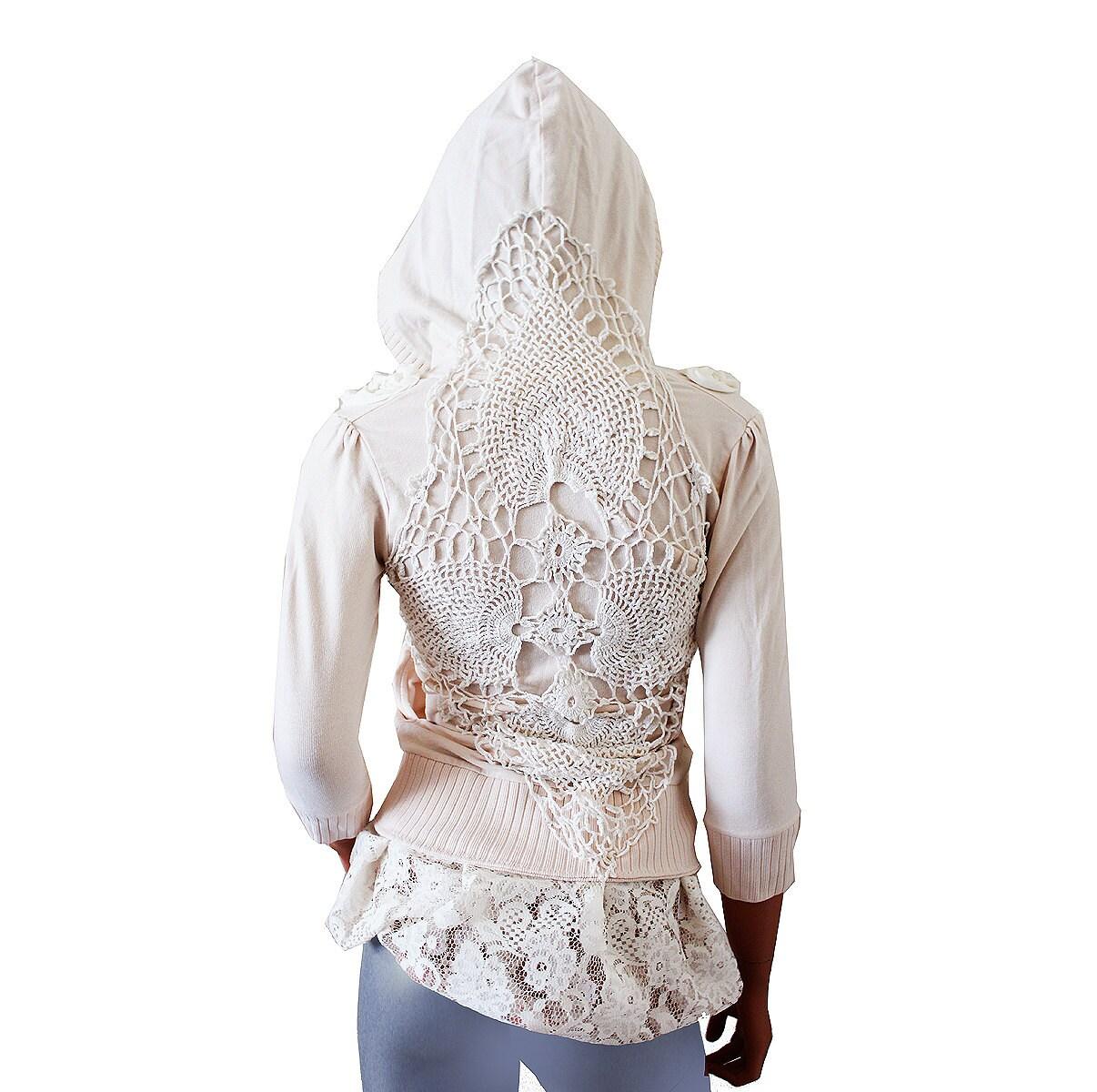 Shabby Hoodie Upcycled Clothing Boho Romantic Off White