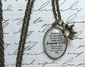 James 1:12 Bible Verse Necklace with Crown Charm