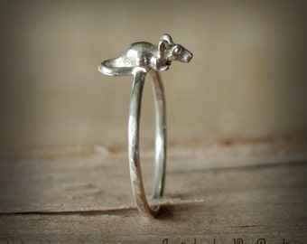Mouse ring - silver mouse ring - rat ring - sterling silver 925 - Jewelry by KatStudio
