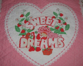 Vintage Strawberry Shortcake Baby Blanket/Quilt - Sweet Dreams - Retro Small Blanket - Strawberry Shortcake and Cat Take A Nap