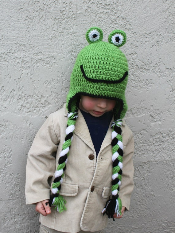 Crocheted Frog Hat for toddler or baby, Made to Order