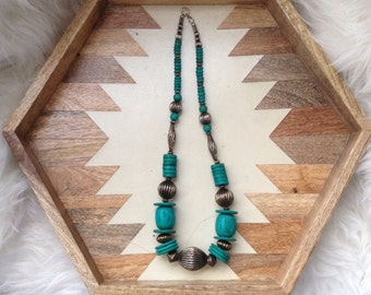 Vintage Teal and Pewter Beaded Necklace
