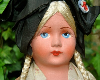 Sale on Antique French Doll from Paris with Hand Painted Papier Mache Face, Silky Blonde Braids and Blue Eyes