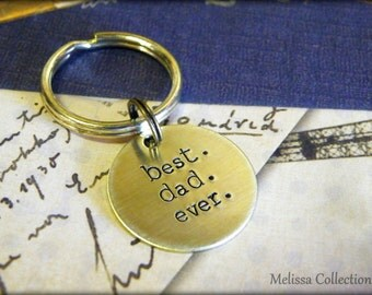 Father's husband's Gift, Best. Dad. Ever. Hand Stamped Key Chain, Christmas, Husband, Gift for him,