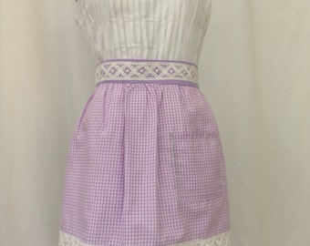 Lavender Lilac Gingham with Lace Womans Half Apron