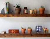 Floating Shelf Set - Dark Finish - Reclaimed Wood Face - Modern Book Shelf Dark Finish - Rustic Modern Home - 37 Inches - Reclaimed Wood
