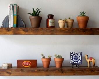 Floating Shelf Set - Dark Finish - Reclaimed Wood Face - Modern Book Shelf Dark Finish - Rustic Modern Home - 36 Inches - Reclaimed Wood