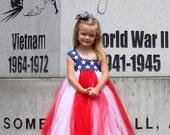 Star Spangled Tutu - Fourth of July - Pageant Tutu Dress sizes 12-18m, 18-24m, 3t, 4t, 5t, girls 6