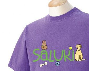 Saluki Doodle Garment Dyed Cotton T-shirt