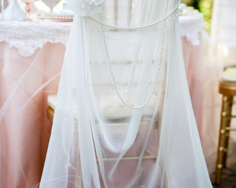 Lovely Ivory Chiffon Chiavari Chair Cover with Pearl Brooch Flower with Pearl or Crystal Draping, fancy chair cover, chair sash, bride