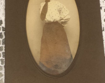 Vintage 1800s Photograph Oval Lady  2 3/4 X 5 1/4 inches