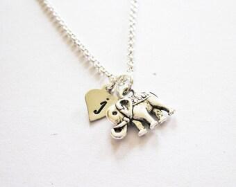 Personalized Elephant Necklace, Dainty elephant Charm Necklace elephant jewelry, tiny elephant necklace, initial necklace, custom letter