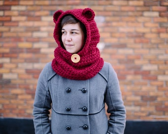 Hooded bear cowl, Mama bear, Crochet hood with ears - Pick your color!