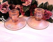Vintage Fenton Candlesticks Pink Stretch Glass Candle Holders Pair Pink Glass Fenton Candle holder